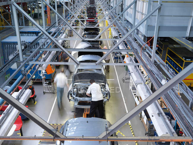 Car Plant Production Line From Above — Stock Photo
