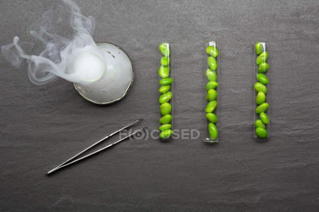 Frijoles en tubos de ensayo con vaso de precipitados - foto de stock