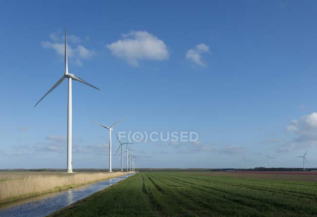 Éoliennes sur champ sous un ciel nuageux bleu — Photo de stock