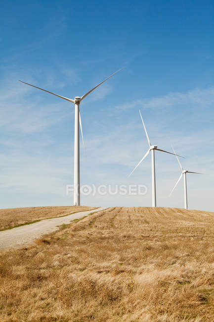 Wind turbines in a row — Stock Photo