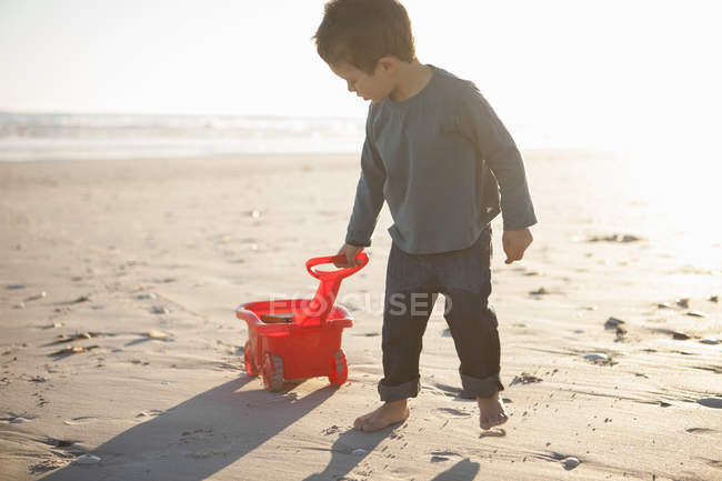Boy pulling toy truck filled with sand along beach — Stock Photo