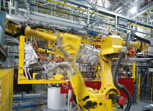 Machine Assembling Car In Plant — Stock Photo