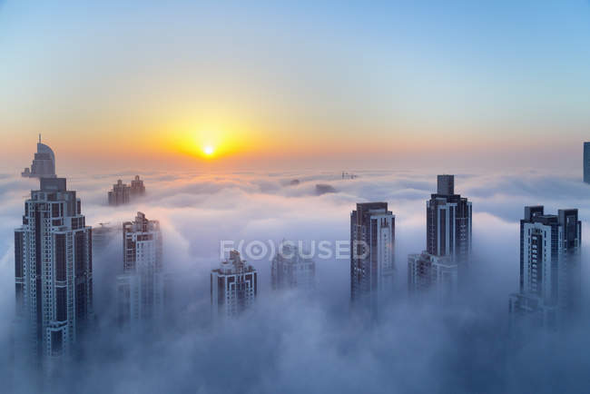 Aerial view of Downtown Dubai at dawn, United Arab Emirates — Stock Photo