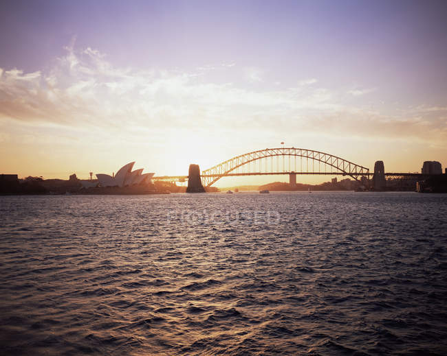 Sunset over sydney harbour — Stock Photo