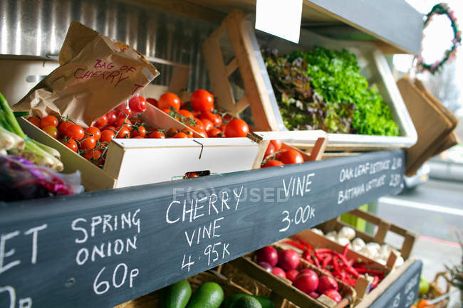 Closeup shot of crates of produce for sale — Stock Photo