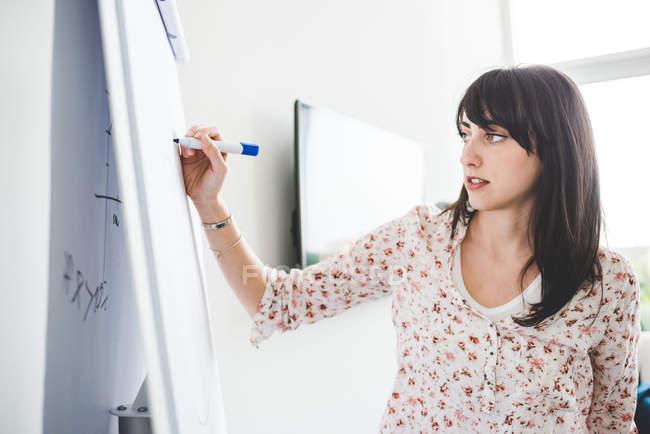 Jeune designer féminin présentant des idées sur le tableau à feuilles mobiles — Photo de stock