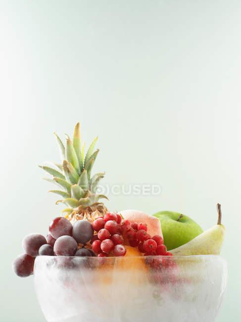 Куча разных фруктов в ледяной чаше — стоковое фото