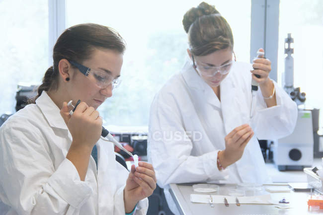 Biology students working with pipettes in lab — Stock Photo