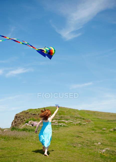 Заднього вигляду дівчина працює з повітряних зміїв в галузі — стокове фото