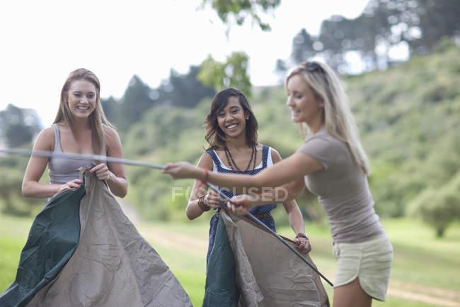 Trois amis dressent une tente en camping — Photo de stock