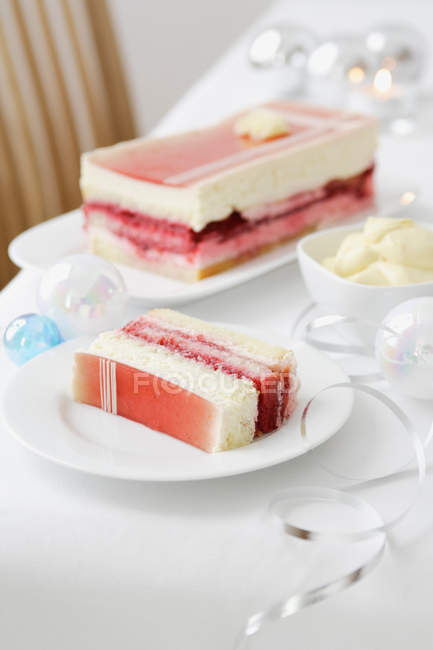 Layered dessert cake — Stock Photo