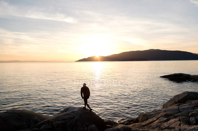 Mid adult man standing on rock, looking at view across lake, rear view — Stock Photo