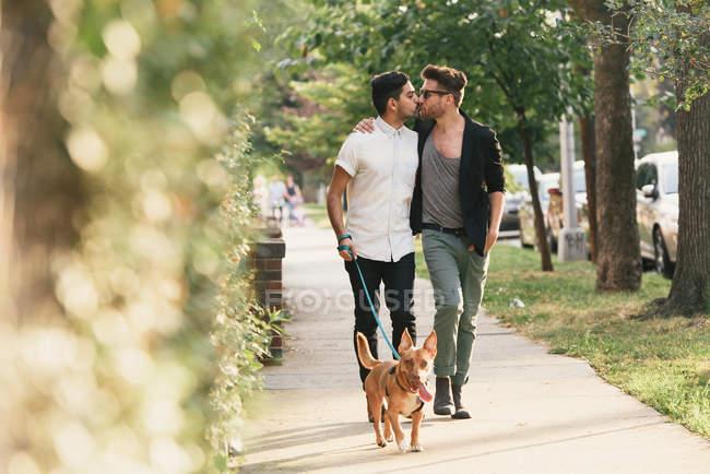 Jeune couple d'hommes embrasser, chien de promenade sur le trottoir de banlieue — Photo de stock