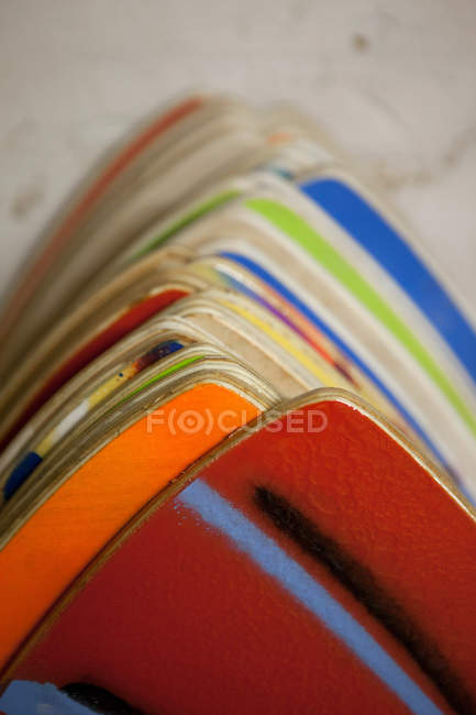 Close up of Colourful hand painted skimboards — Stock Photo