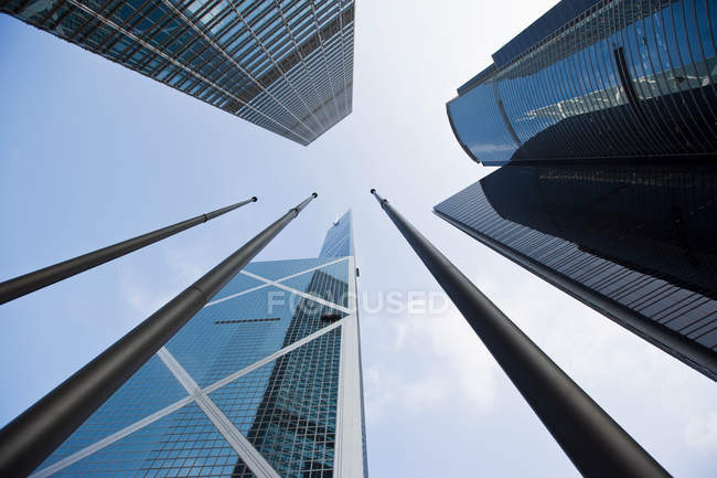 Skyscrapers under clear blue sky — Stock Photo