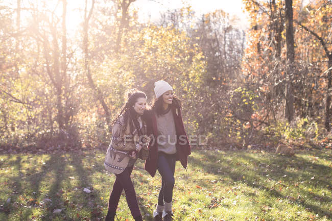 Happy friends walking in sunny Autumnal forest — стоковое фото