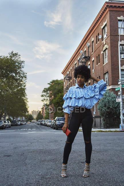 Portrait of young female fashion blogger on urban street, New York, USA — Stock Photo