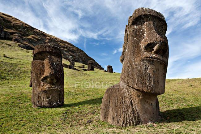 Moai statues, rano raraku — Stock Photo