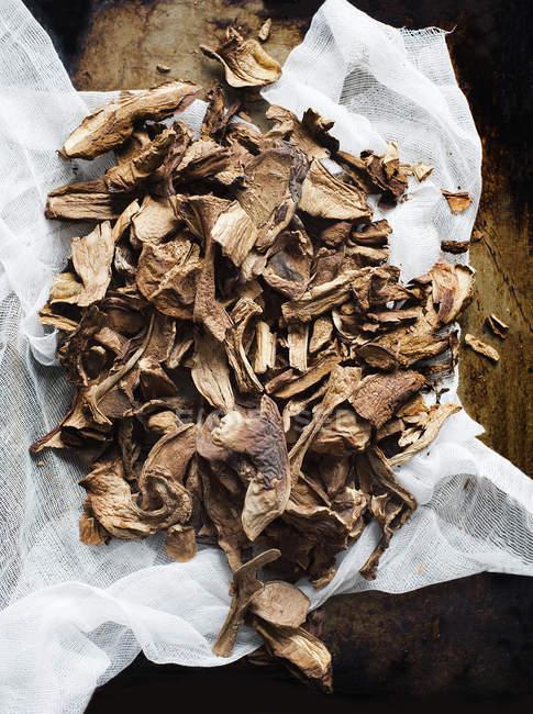 Mucchio dei funghi secchi su garza, vista dall'alto — Foto stock
