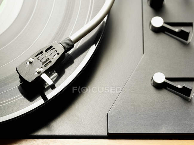View of vinyl record in player, close-up — Stock Photo