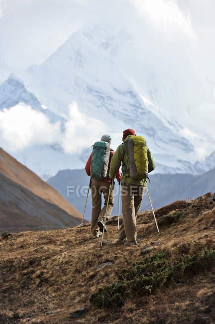 Vista traseira de caminhantes em ridge em Thorung La, Nepal — Fotografia de Stock