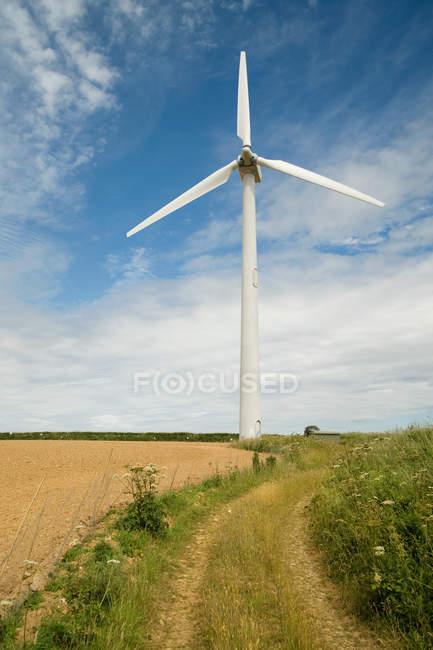 Turbina eólica perto do campo — Fotografia de Stock