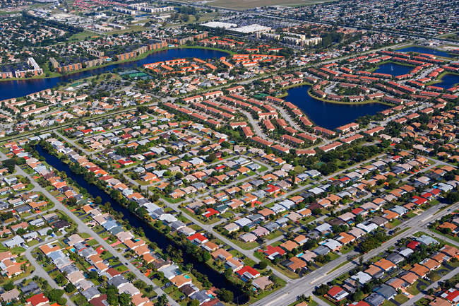 Aerial view of houses roofs on florida east coast — Stock Photo