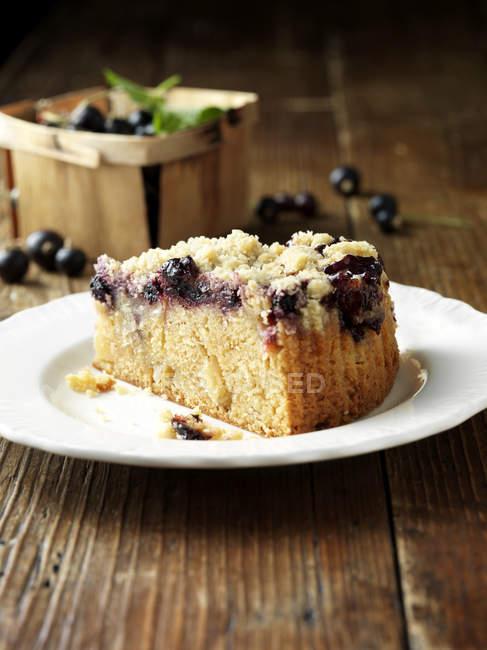 Яблоко и черная смородина раскрошить торт на плиты — стоковое фото