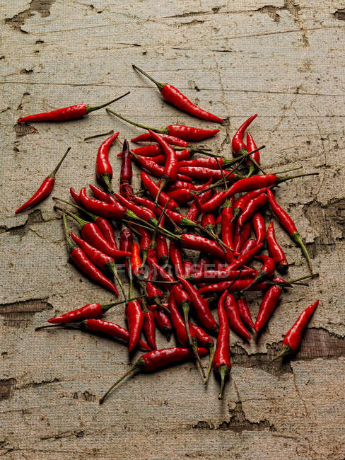 Pile of chili peppers, top view — Stock Photo