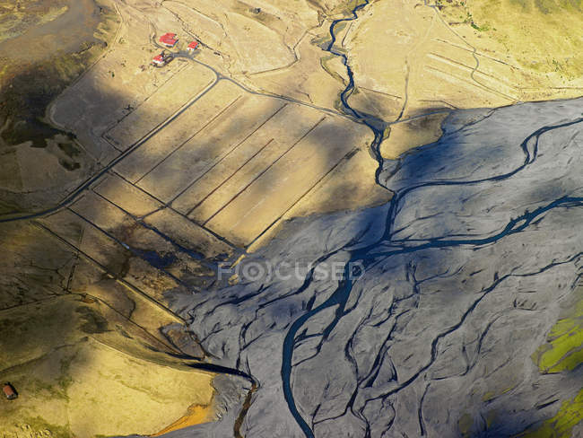 Fields and river delta, South Iceland — Stock Photo