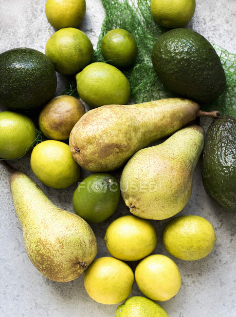 Top view of yellow and green color fruits — Stock Photo