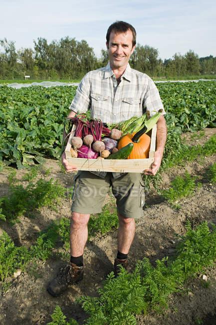 Mann mit hölzernem Geschirr aus frisch angebautem Gemüse — Stockfoto