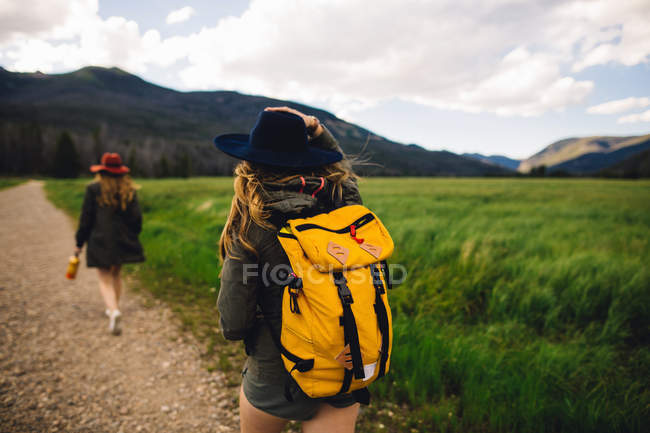 Vista trasera de las mujeres haciendo senderismo en la pista de tierra, Parque Nacional de las Montañas Rocosas, Colorado, Estados Unidos - foto de stock