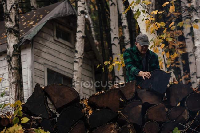 Reife Mann Stapeln von Baumstämmen im Herbst Wald, upstate New York, USA — Stockfoto