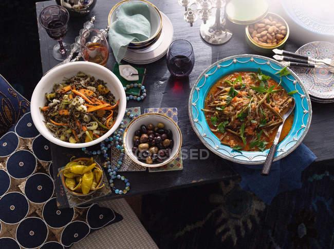 Plates of Turkish food — Stock Photo