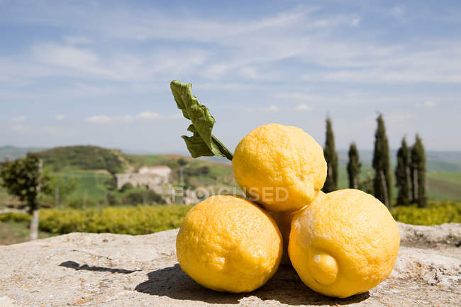 Yellow Sicilian lemons on stone — Stock Photo