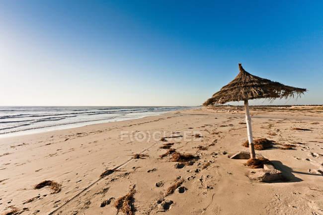 Парасоль на песчаном пляже — стоковое фото
