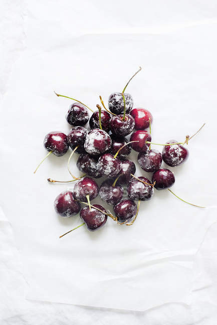 High angle view of Fresh cherries on icing sugar — Stock Photo