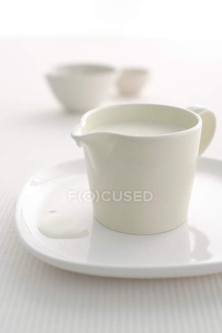 Close-up view of pitcher of milk on tray — Stock Photo