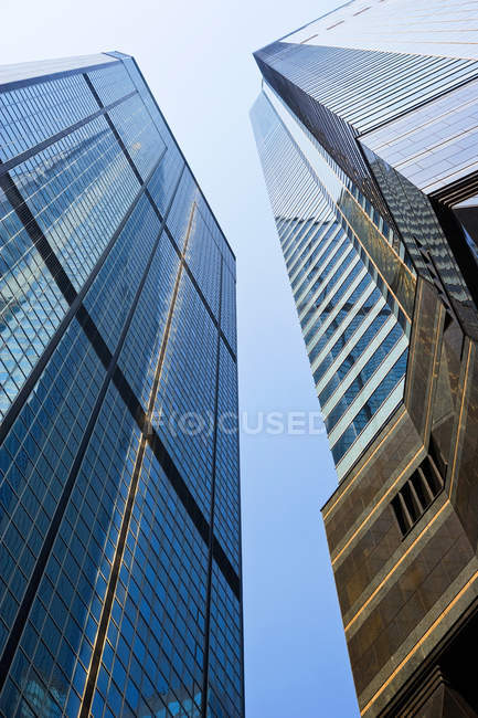 Low angle view of modern office buildings, hong kong — Stock Photo