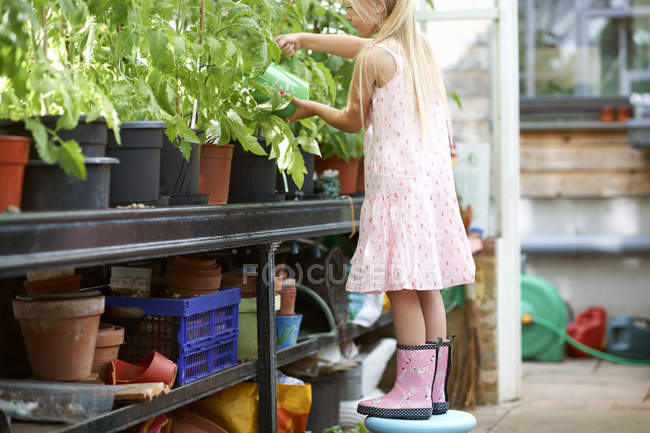 Girl standing on stool to water the plants in greenhouse — Stockfoto