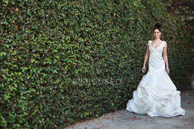 Молодая женщина в свадебном платье, стоящая у изгороди — стоковое фото