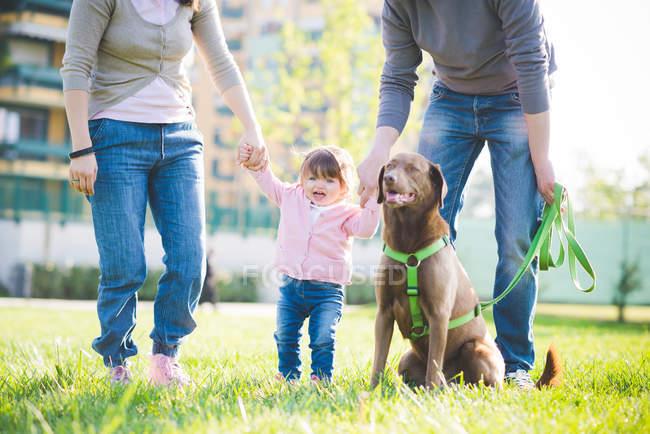 Mid casal adulto de mãos dadas com a filha da criança no parque — Fotografia de Stock