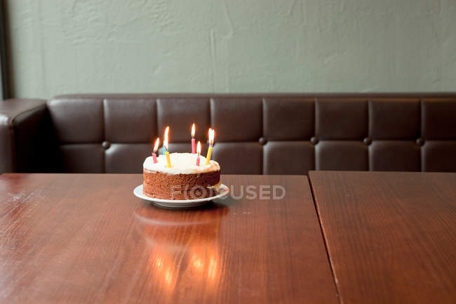 Birthday Cake On Table Stock Photo