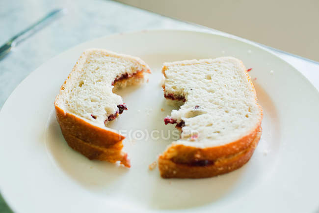 Two eaten sandwiches on plate — Stock Photo