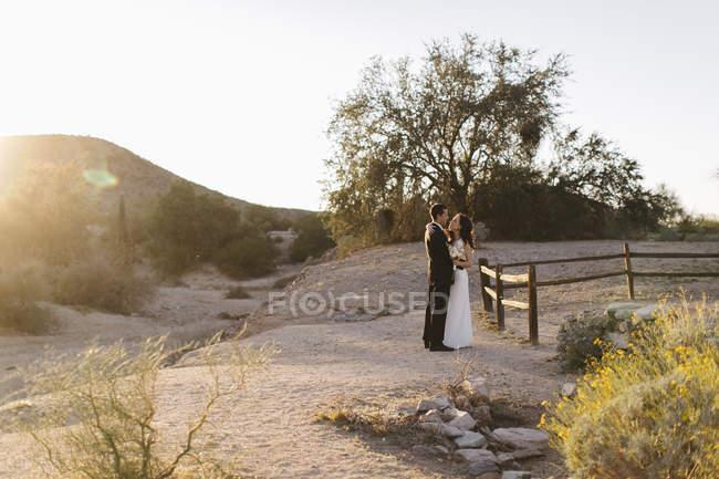 Наречений і наречена, в посушливому пейзажі, стоячи віч-на-віч — стокове фото
