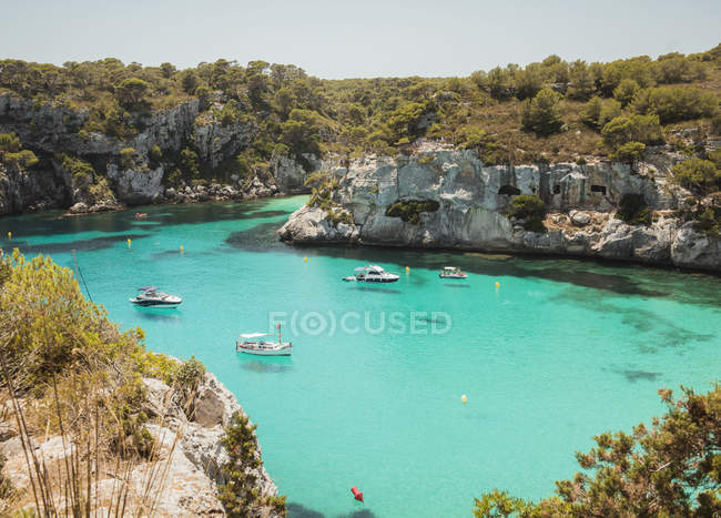 High angle view of yachts anchored at Cala Macarella, Menorca, Spain — Stock Photo
