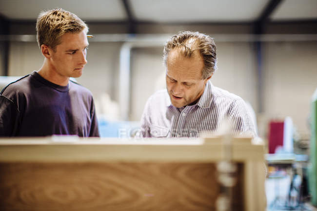 Male carpenter explaining to male trainee in workshop — Stock Photo
