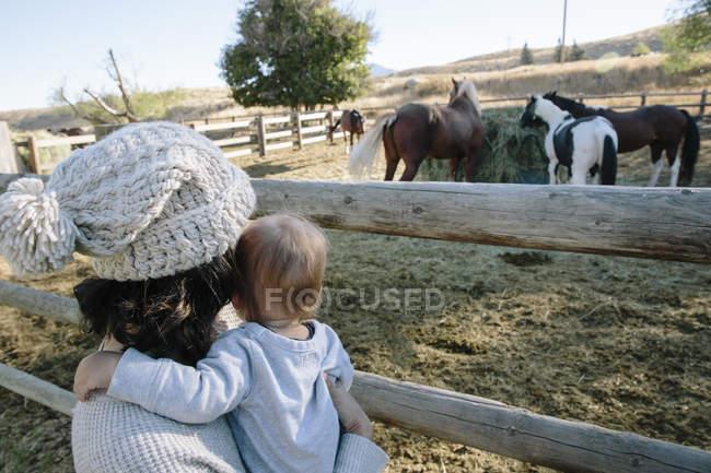 Madre tenuta giovane figlio all'aperto, guardando i cavalli in fattoria, vista posteriore — Foto stock