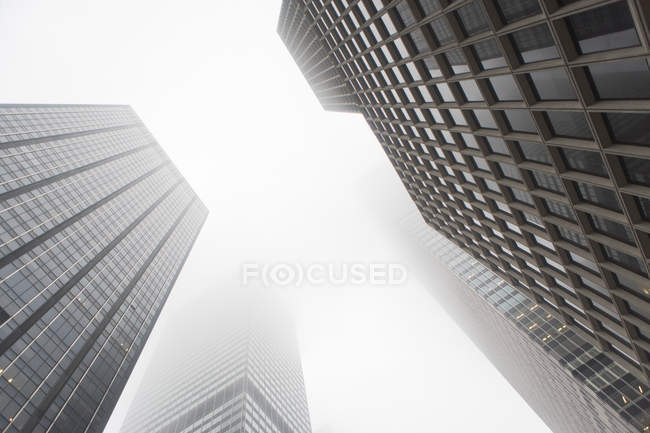 Bottom view of skyscrapers in mist, black and white — Stock Photo